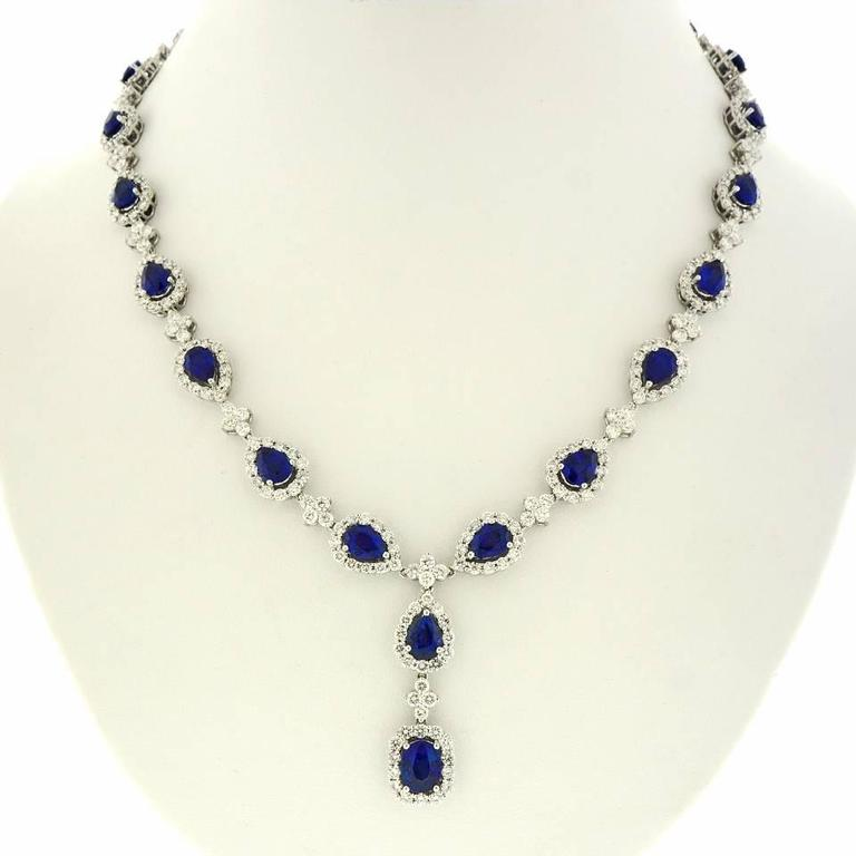 Stunning Gregg Ruth Sapphire & Diamond White Gold Necklace 8