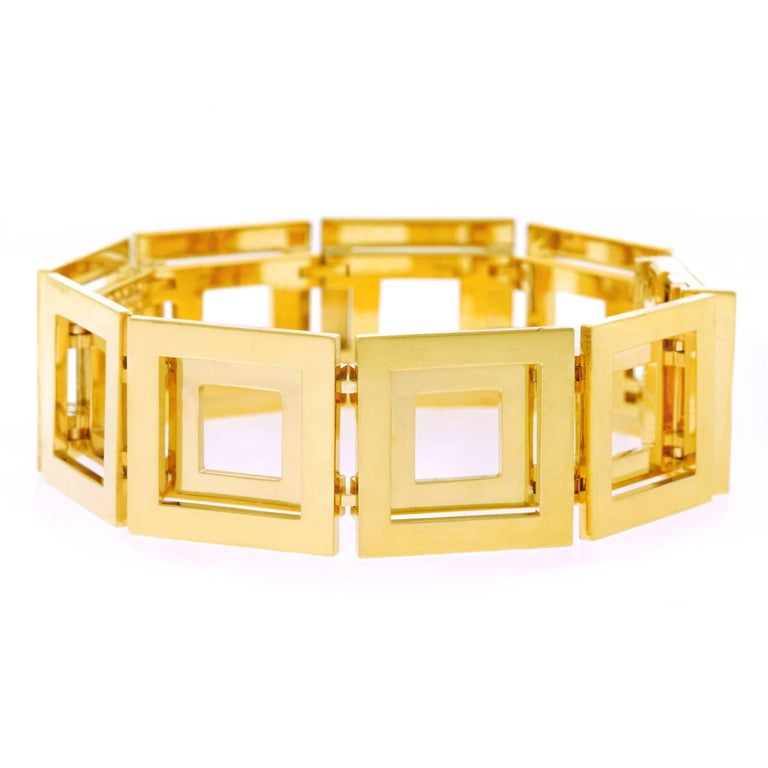 Blochliger Modernist Gold Bracelet In Excellent Condition In Litchfield, CT