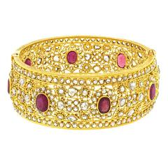 Mogul Diamond and Ruby Set Gold Bangle Bracelet
