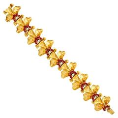 Tiffany & Co. Retro Ruby Diamond Gold Bracelet