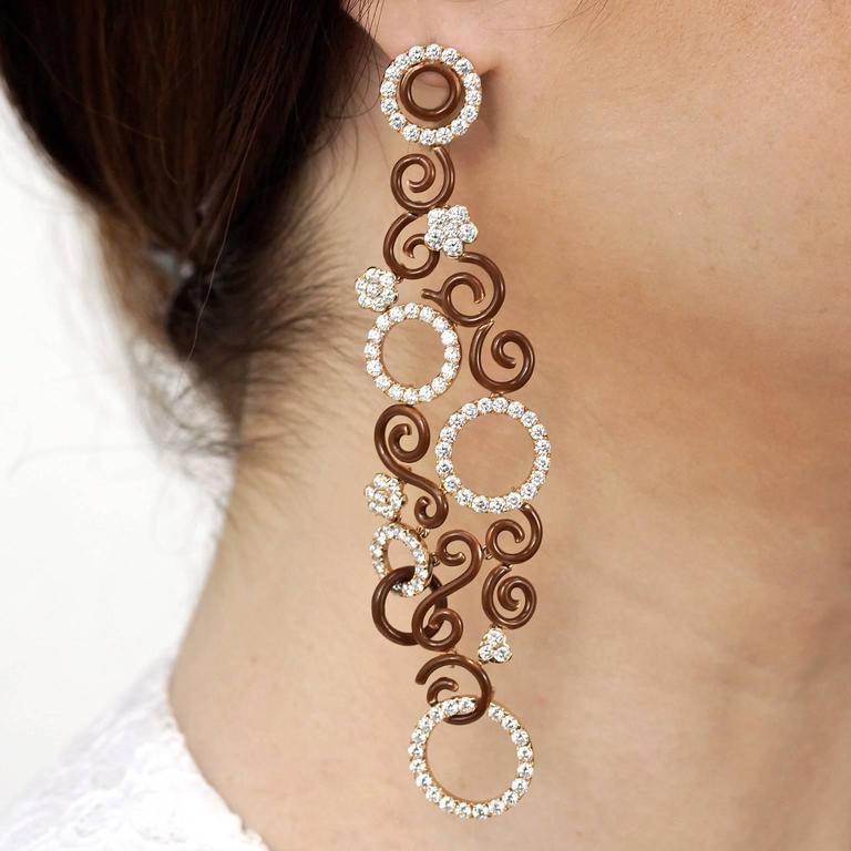 Magnificent Enamel Diamond Gold Chandelier Earrings At 1stdibs