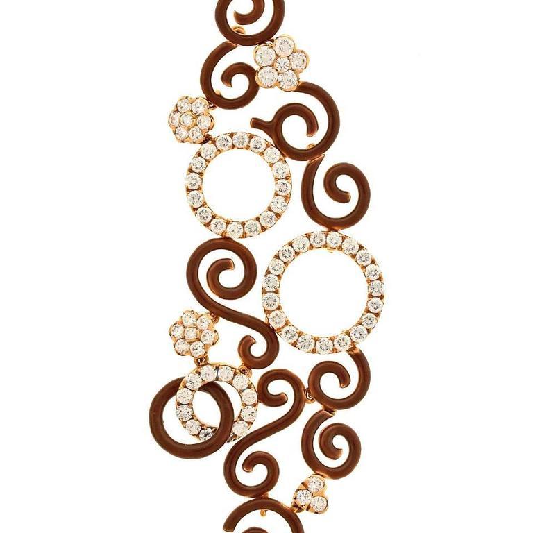 Magnificent Enamel Diamond Gold Chandelier Earrings For Sale 3