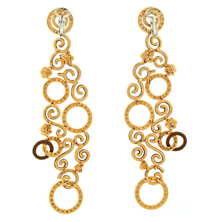 Magnificent Enamel Diamond Gold Chandelier Earrings For Sale 4
