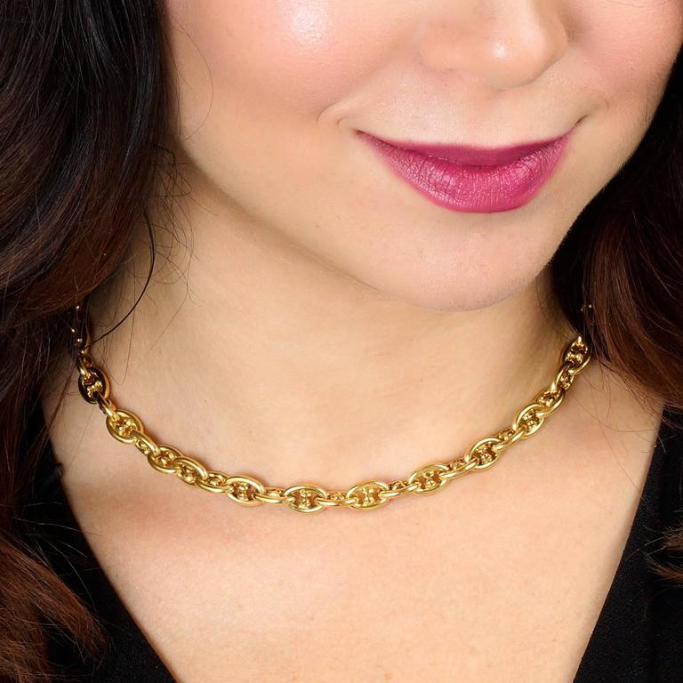Caplain of Paris Gold Anchor Link Necklace 4