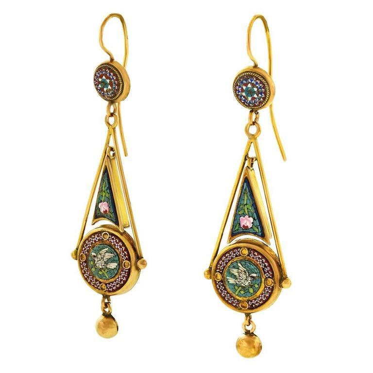 Antique Micromosaic in Gold Chandelier Earrings 3