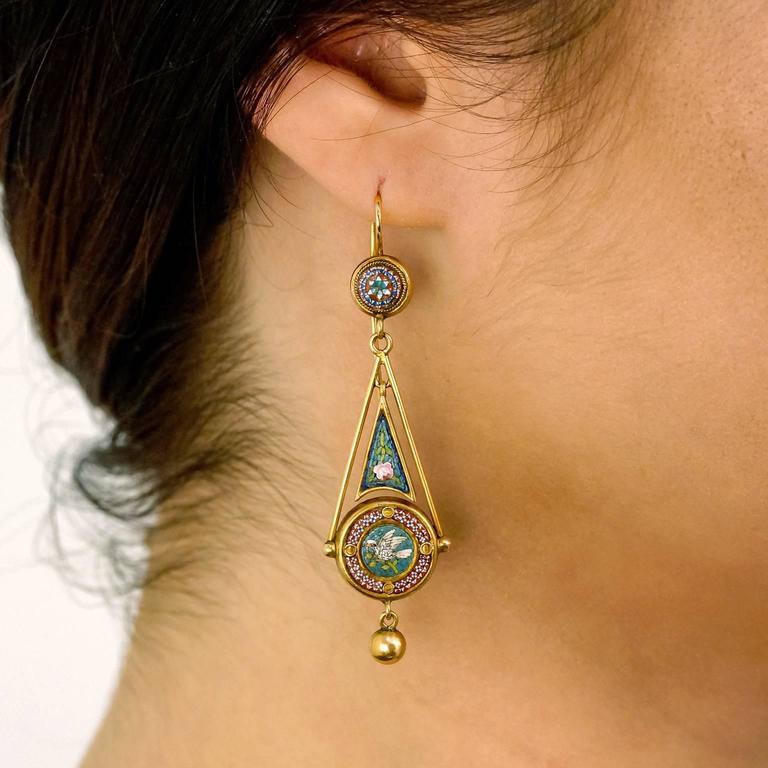 Antique Micromosaic in Gold Chandelier Earrings 4