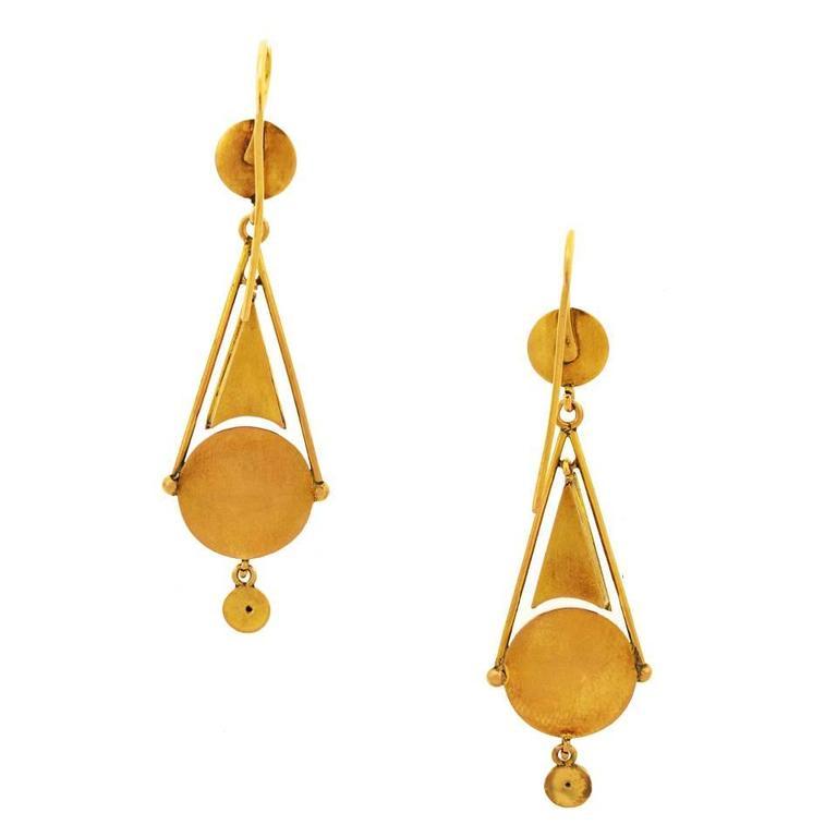 Antique Micromosaic in Gold Chandelier Earrings 7