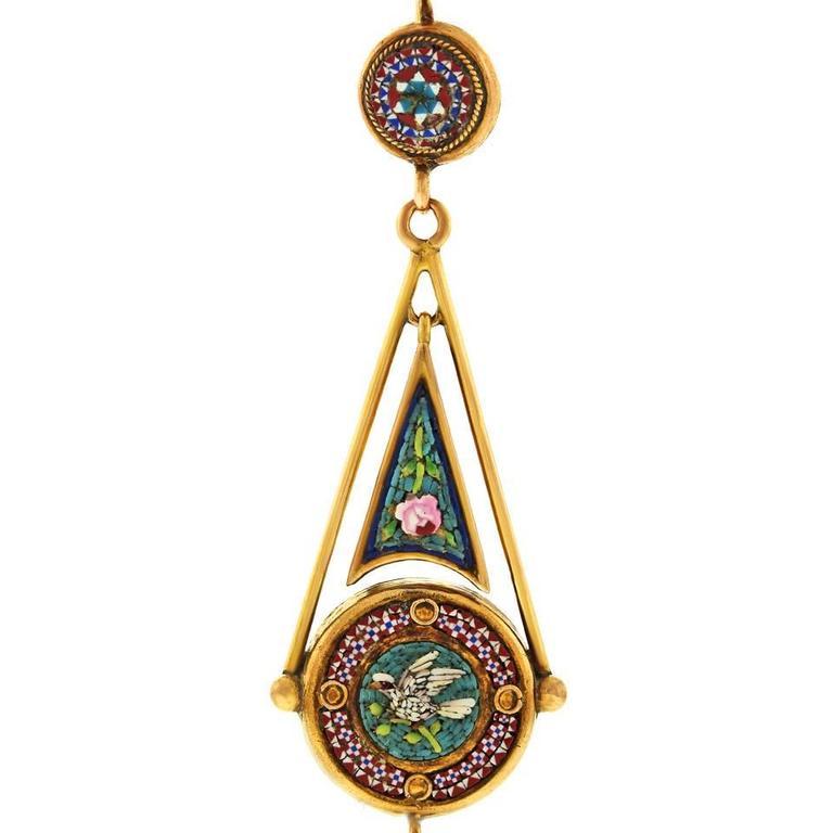 Antique Micromosaic in Gold Chandelier Earrings 9