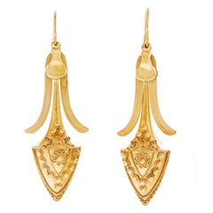 Antique Etruscan Revival Gold Chandelier Earrings