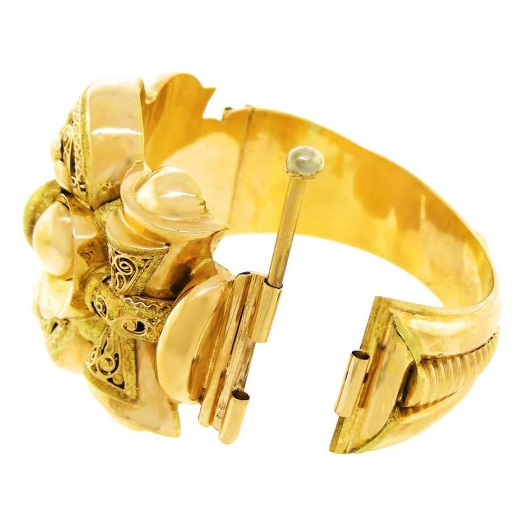 French Antique Gold Cuff Bracelet At