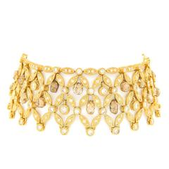 Adler of Genève Diamond Gold Lace Cuff Bracelet