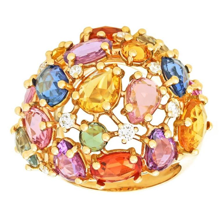 Colorful 12.0 Carat Total Weight Sapphire and Gold Ring 8