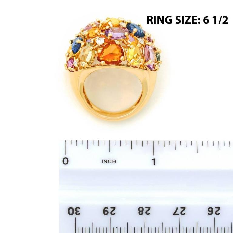 Colorful 12.0 Carat Total Weight Sapphire and Gold Ring 6