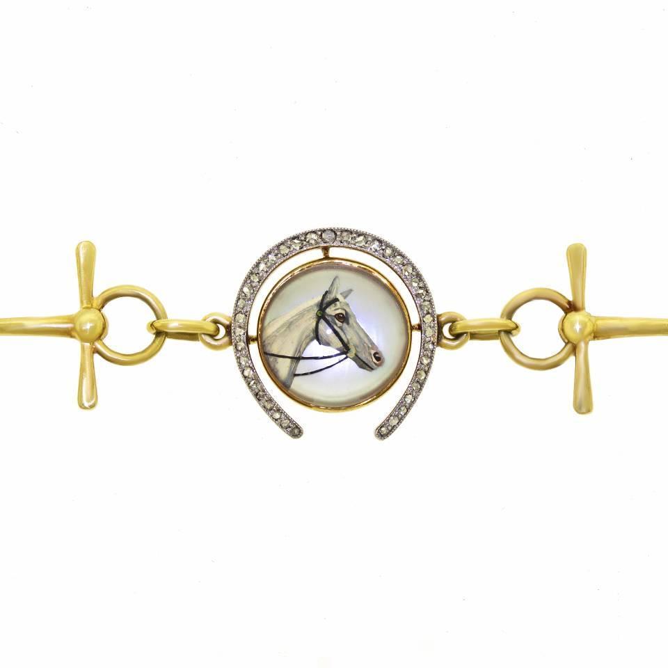 Antique Equestrian Motif Gold Bracelet For Sale At 1stdibs