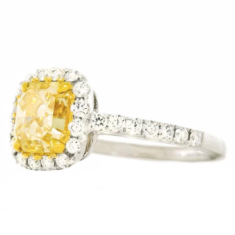 2.0 Carat Cushion Cut Fancy Intense Yellow Diamond Gold Ring 3