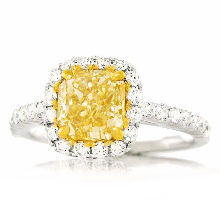 2.0 Carat Cushion Cut Fancy Intense Yellow Diamond Gold Ring 5