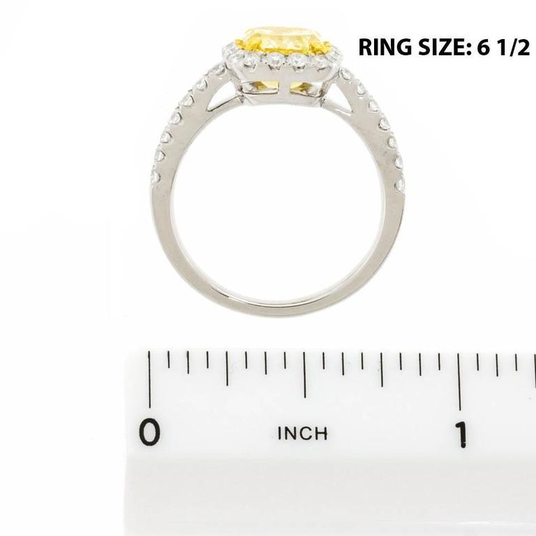 2.0 Carat Cushion Cut Fancy Intense Yellow Diamond Gold Ring 6
