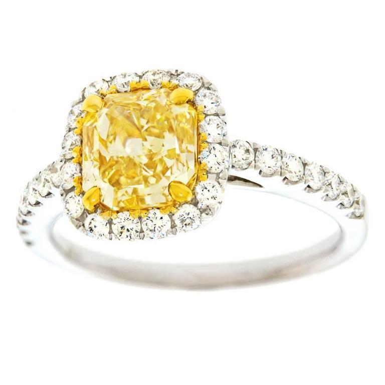 2 0 Carat Cushion Cut Fancy Intense Yellow Diamond Gold Ring