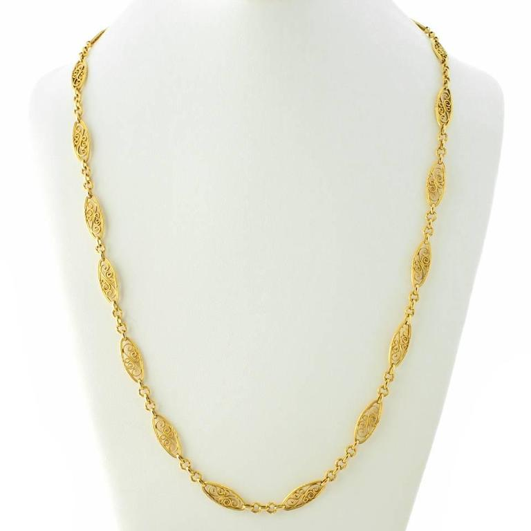 Antique French 28 Inch Long Filigree Gold Necklace For Sale 3