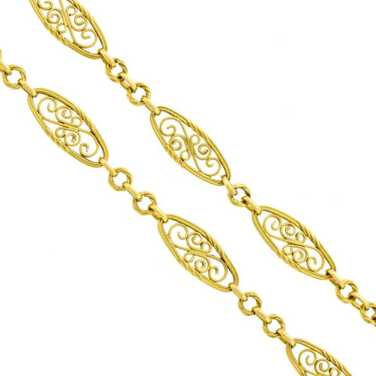 Antique French 28 Inch Long Filigree Gold Necklace For Sale 4