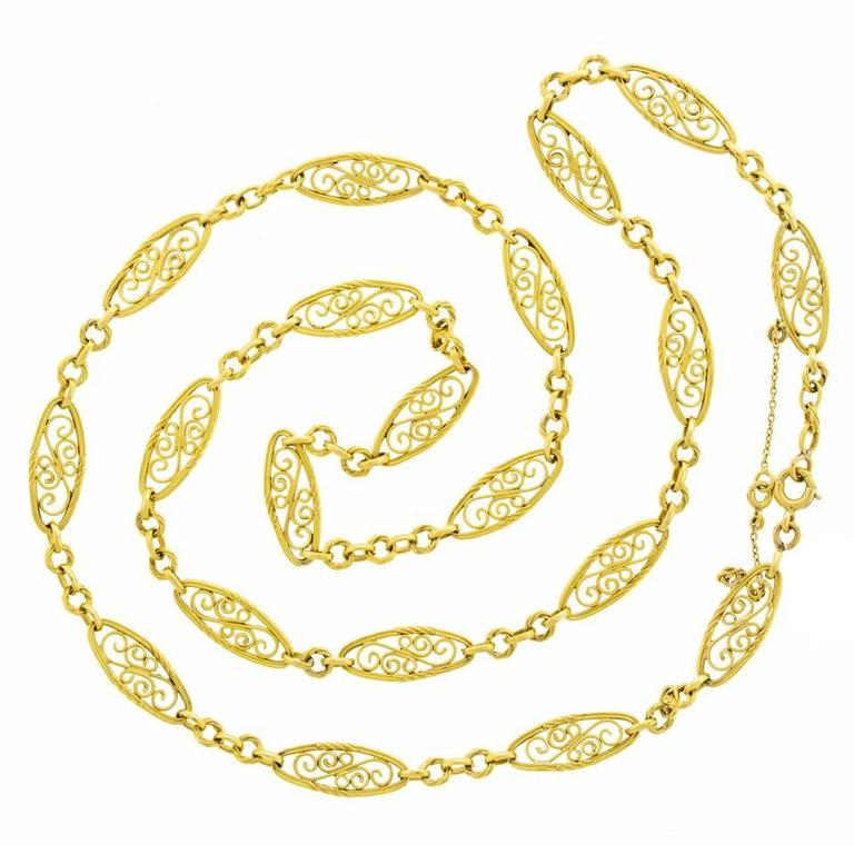 Victorian Antique French 28 Inch Long Filigree Gold Necklace For Sale