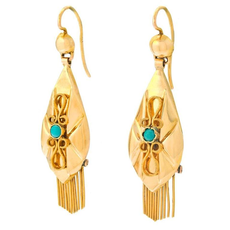 Antique Austro Hungarian Turquoise Gold Dangle Earrings At