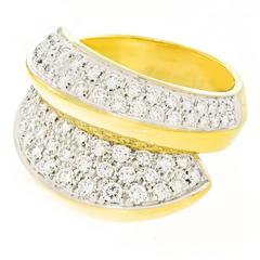 Damiani Huge Pave Diamond and Gold Ring