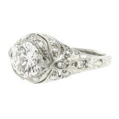 Art Deco 1.30ct Diamond and Platinum Ring