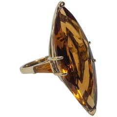 Large Madeira Citrine Marquise Cut Gold Ring