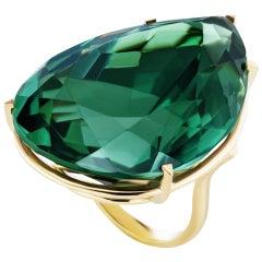 121.25 Carat Pear Shape Genuine Green Amethyst Statement Ring
