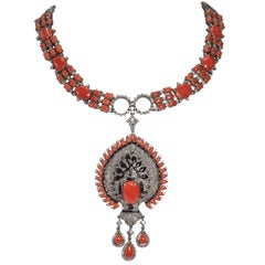 Genuine Diamond Coral Black Onyx Art Deco Style Necklace