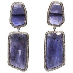 Genuine Blue Kyanite Slice Diamond Earrings