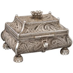 1858 Russian Silver Filigree Box