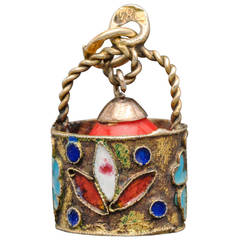 Rare Russian Enameled Silver Easter Egg in a Basket