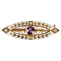 White Enamel Amethyst and Gold Pin by Krementz, circa 1910