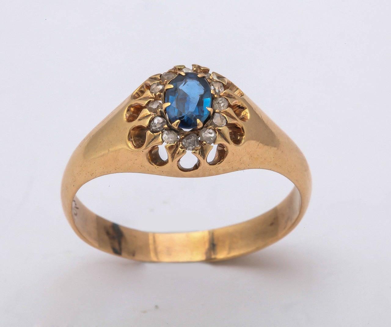 1917 Russian Revolution Sapphire Diamond Gold Cluster Ring 2