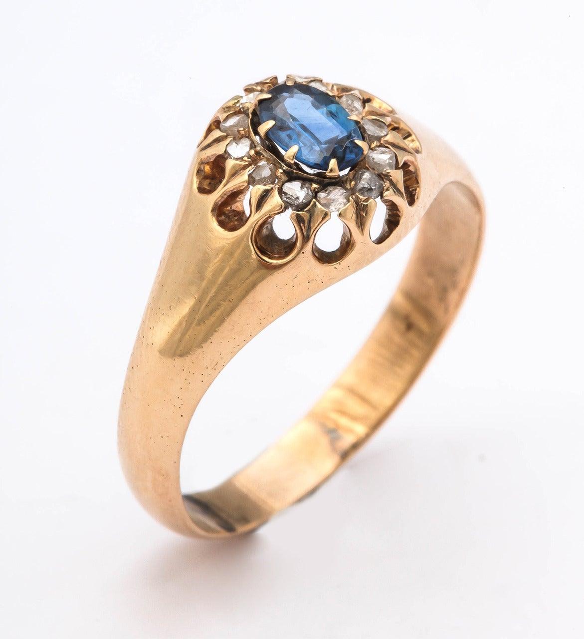 1917 Russian Revolution Sapphire Diamond Gold Cluster Ring 10