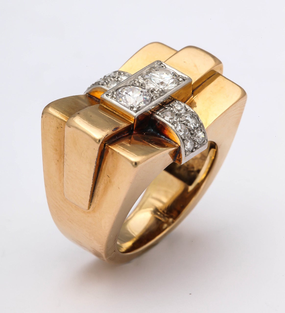1940s French Diamond Gold Bridge Ring 7