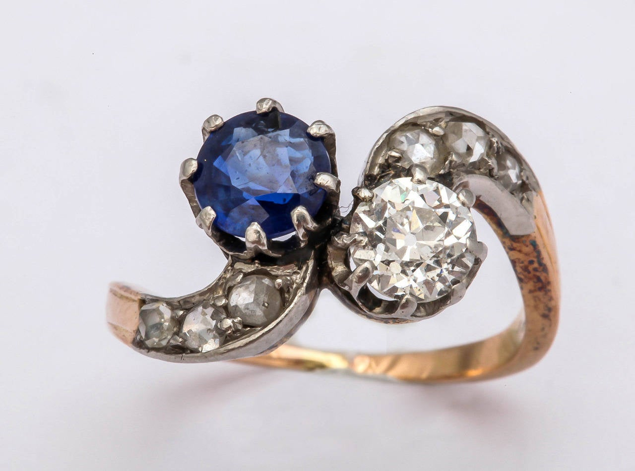black wedding rings with pink diamonds antique 1890s sapphire silver gold 1890