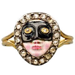 Rare 18th Century Enamel Diamond Silver Gold Ring