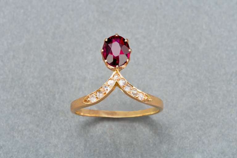 Russian Garnet Diamond Ring 2