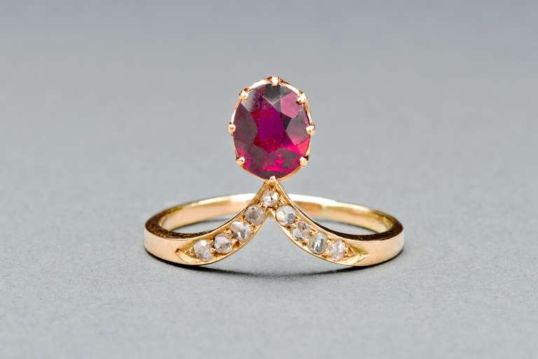 Russian Garnet Diamond Ring 3