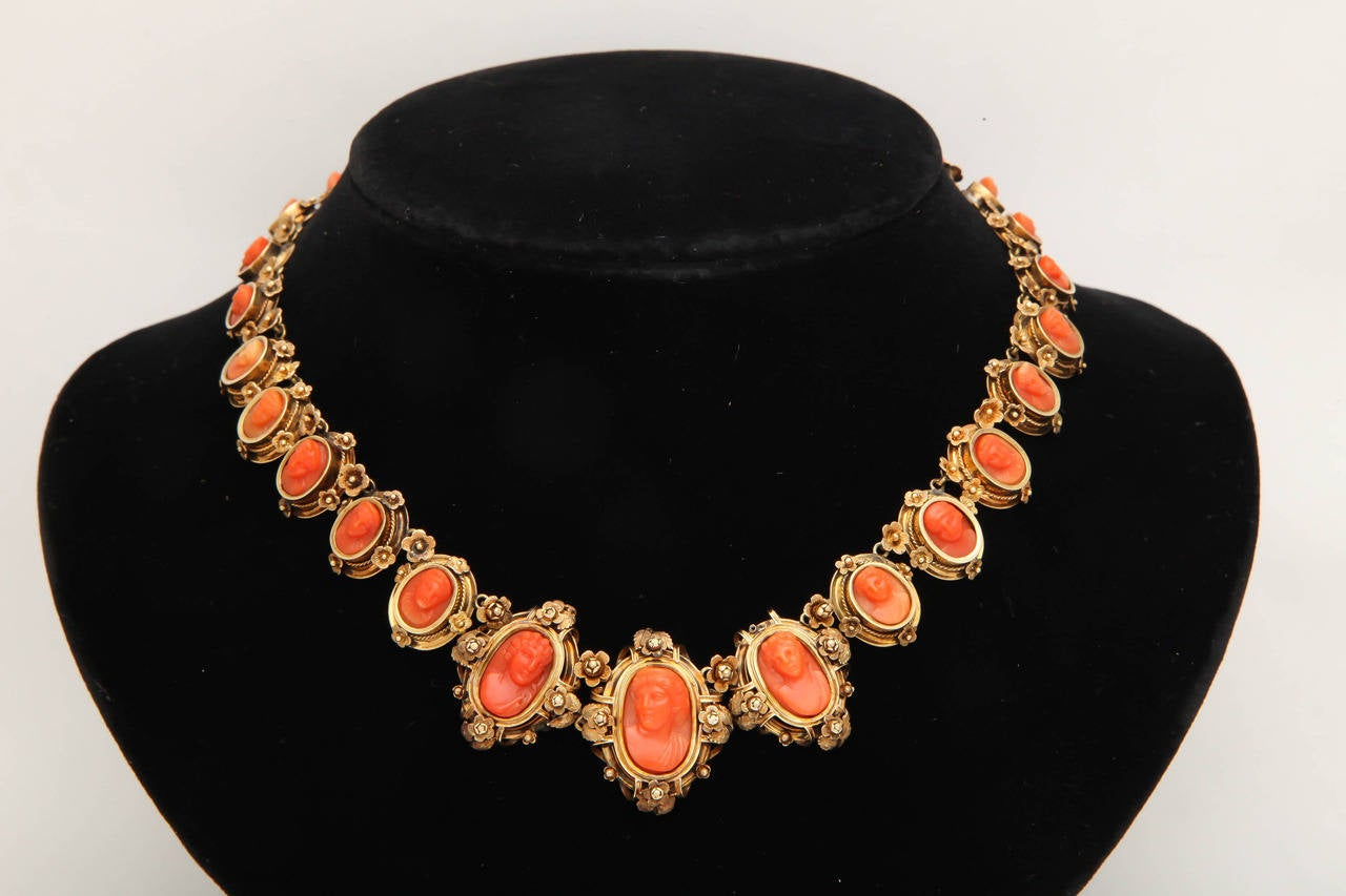 Victorian 1870s Carved Coral Gold Link Necklace For Sale