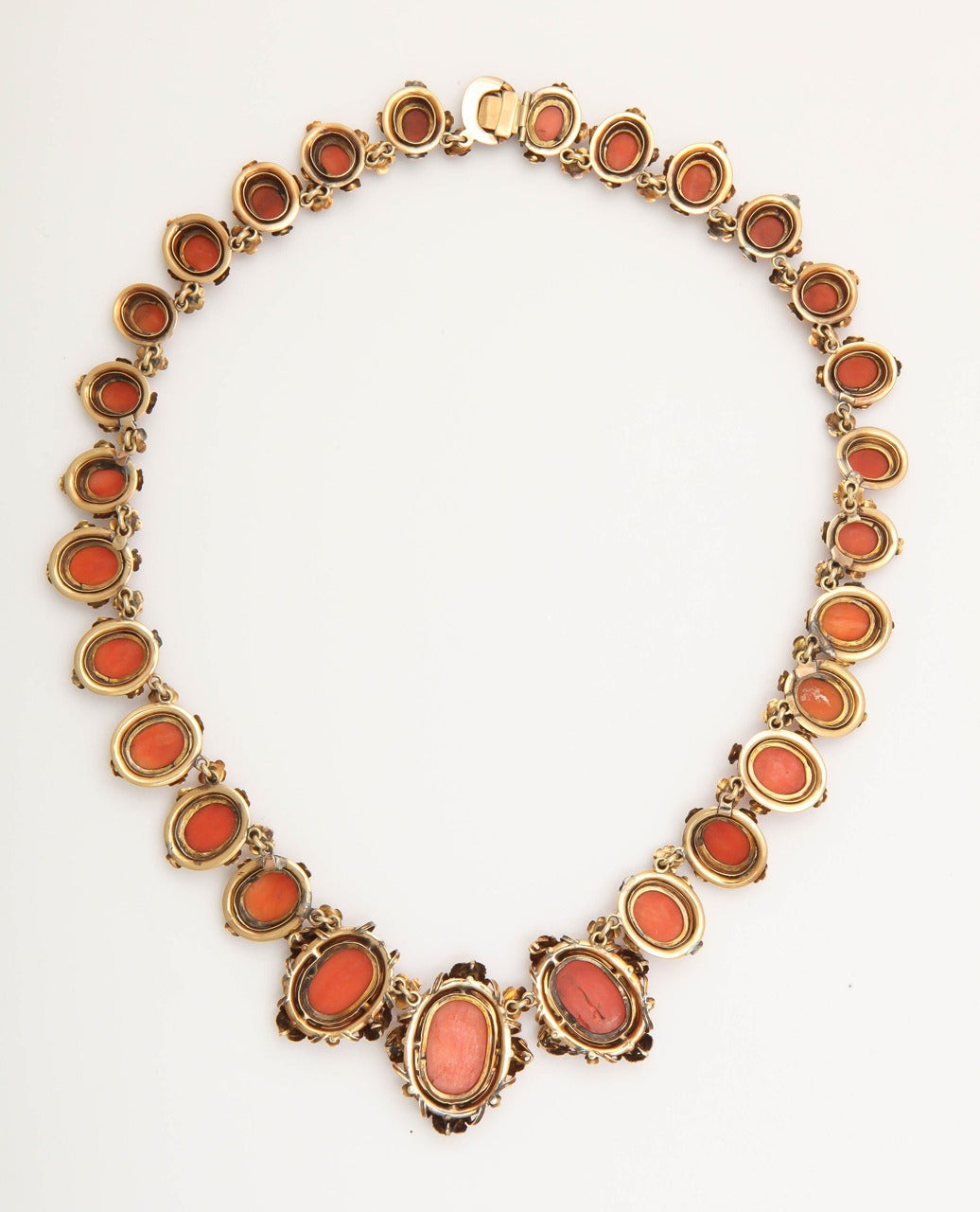 Women's 1870s Carved Coral Gold Link Necklace For Sale