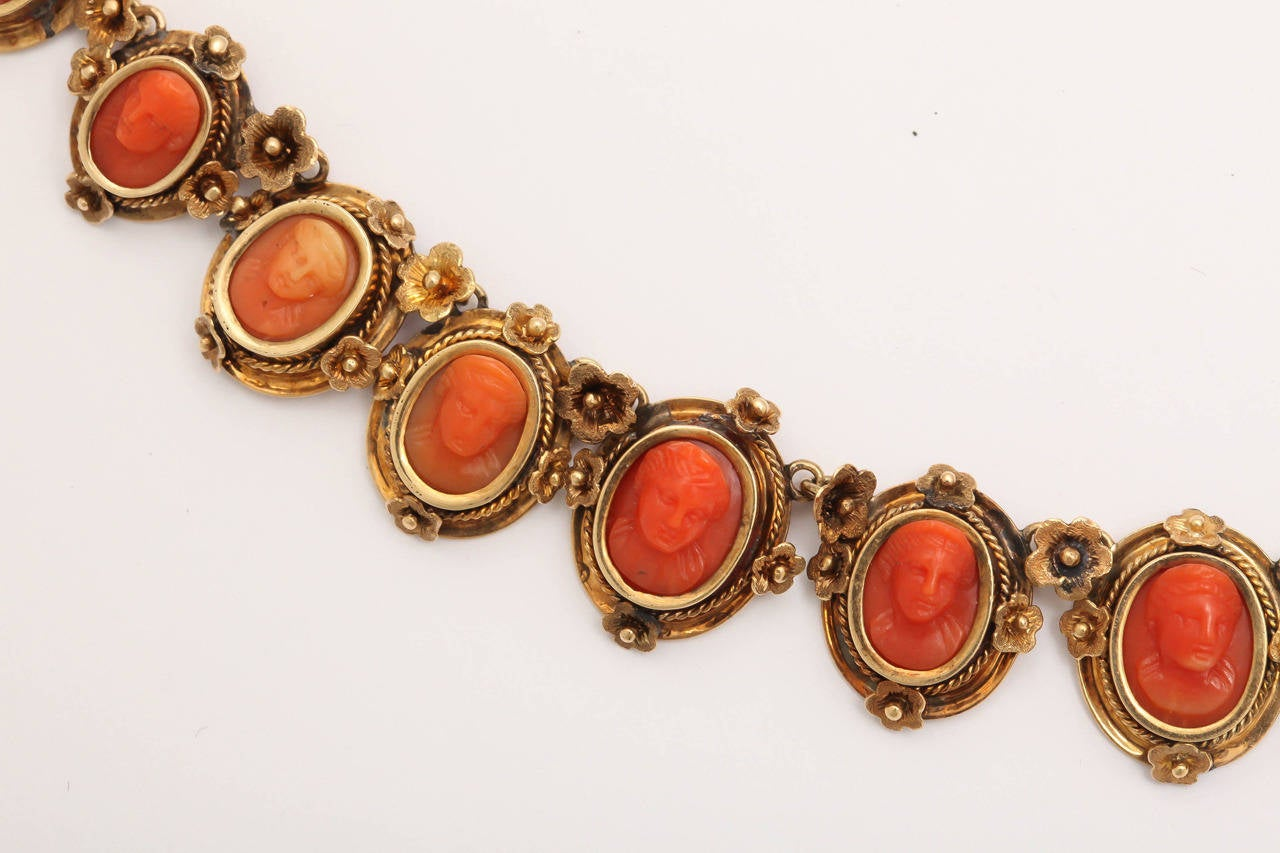 1870s Carved Coral Gold Link Necklace For Sale 2