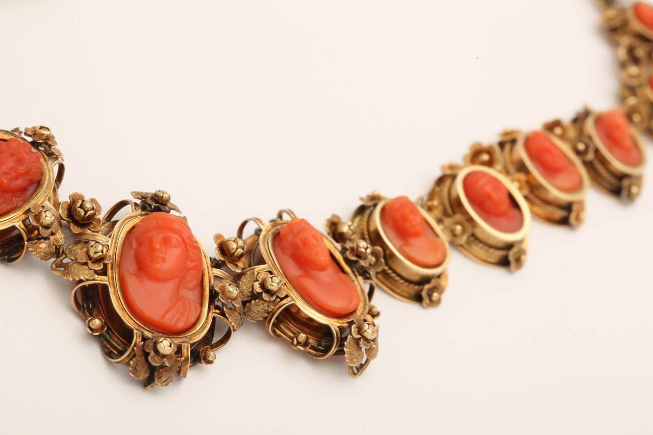 1870s Carved Coral Gold Link Necklace For Sale 4