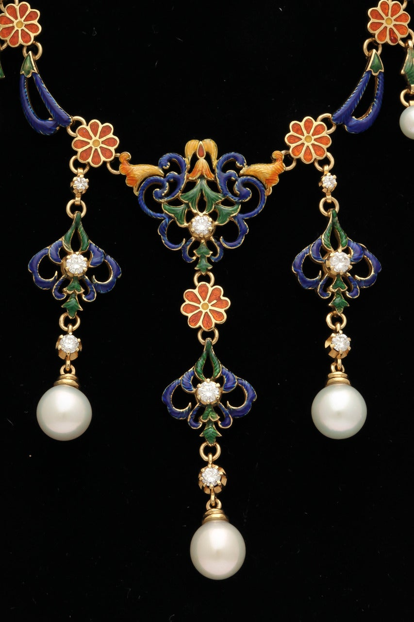 French Enameled Pearl Diamond Gold Byzantine Style Necklace In Excellent Condition For Sale In New York, NY