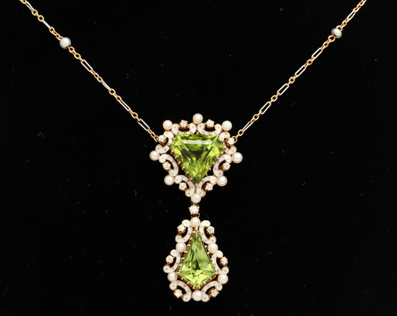 Women's Edwardian Enamel Peridot Pearl Diamond Gold Drop Necklace For Sale
