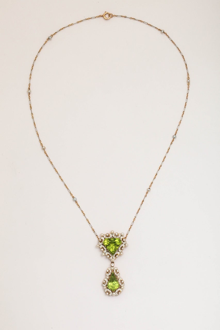 Edwardian Enamel Peridot Pearl Diamond Gold Drop Necklace For Sale 1