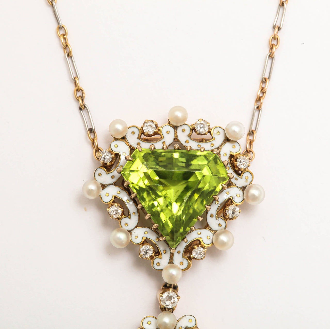 Edwardian Enamel Peridot Pearl Diamond Gold Drop Necklace For Sale 2